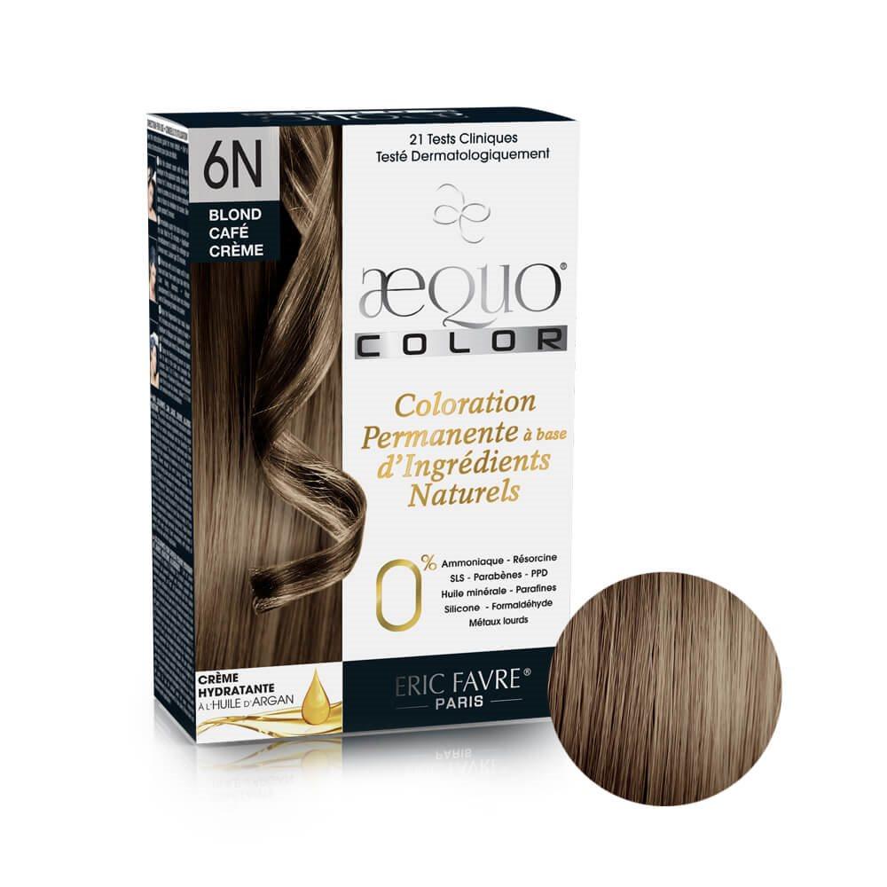 Aequo color - Coloration capilaire permanente d'origine naturelle (Blond café crême 6N)