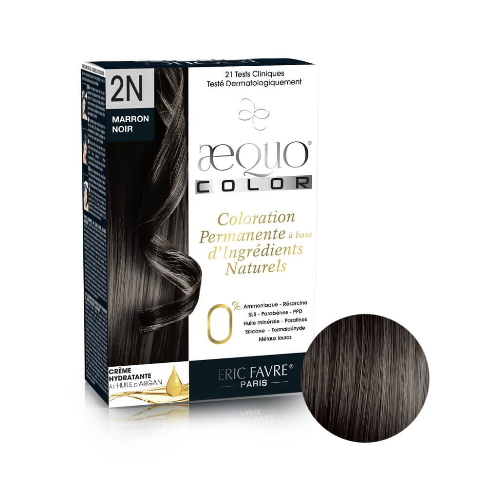 Aequo color - Coloration capilaire permanente d'origine naturelle (Marron noir 2N)